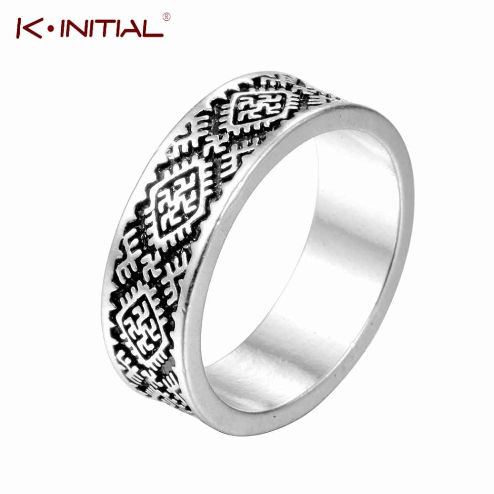 Amulet Pagan's Talisman Rings Slavic Fern Flower Ring Kolovrat Star of Russia Talisman Ring Men Bague Jewelry Kinitial Brand