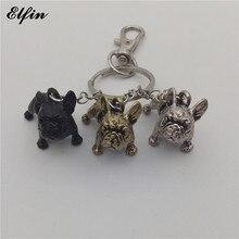 Elfin 2017 Trendy French Bulldog Key Chains Fashion Animal Pet Memorial Jewellery French Bulldog Key Rings