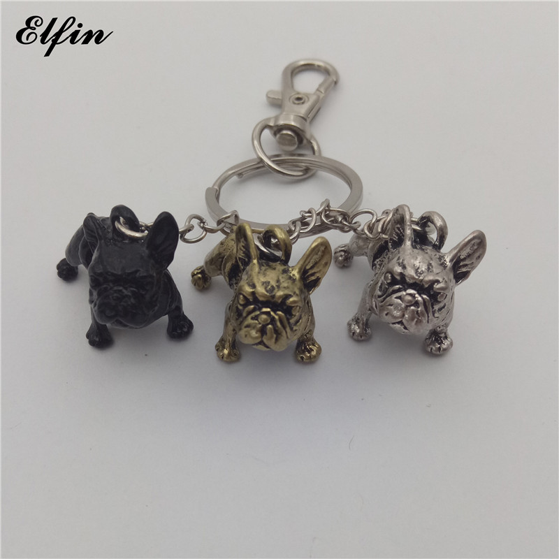 Elfin 2018 Trendy French Bulldog Keychain Fashion Animal Pet Memorial Jewellery French Bulldog Keychains Key Rings bulldog 150ml