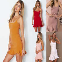 bodycon dress women summer  Ruffles Sleeveless Sheath Spaghetti Strap