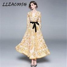 Nuevo vestido de mujer de Pasarela de Diseño 2019 Primavera de alta calidad con estampado de flores cuello en V de manga larga con lazo ajustado para mujer Maxi vestido