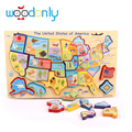 Деревянный Карта Америки Игрушки для Детей Дети Раннего Обучения Образование Игрушки