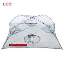 LEO Portable Fishing Net Shrimp Cage Nylon Foldable 4/8/12 Hole Crab Fish Trap Cast Net Cast Folding Fishing Network