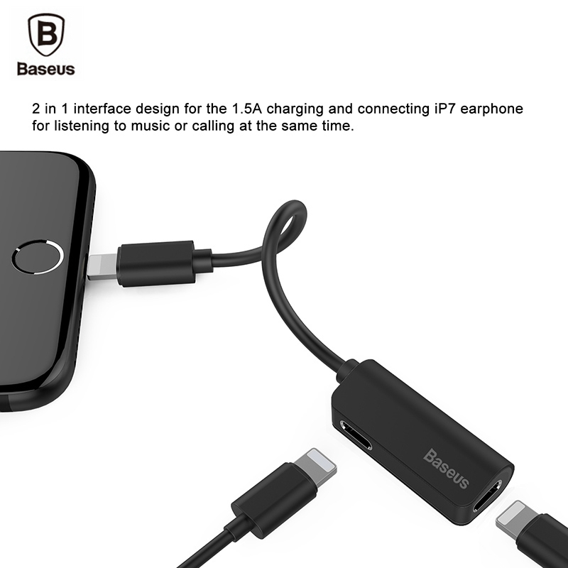 baseus aux audio adapter for iphone 7 8 plus x 2 in 1. Black Bedroom Furniture Sets. Home Design Ideas