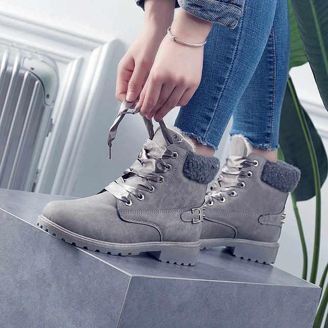 Giày bốt nữ 2019 thời trang hot mùa đông Giày nữ mắt cá chân Giày Mũi Tròn nữ ấm áp Plus Nhung mùa đông Ủng nữ giày