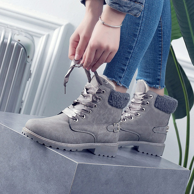 Women boots 2018 hot fashion women ankle boots round toe female warm plus velvet winter snow boots women shoes