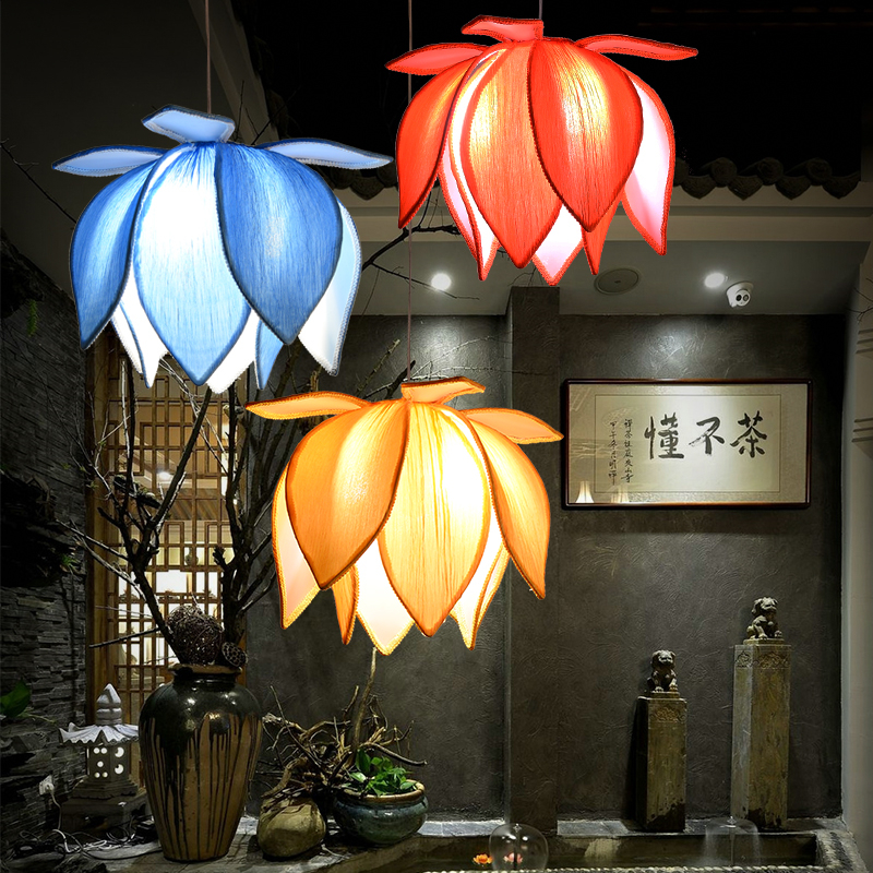 Chinese new style cloth pendant lamp restaurant tea room building personality lamp lotus Chan lotus pendant lampChinese new style cloth pendant lamp restaurant tea room building personality lamp lotus Chan lotus pendant lamp