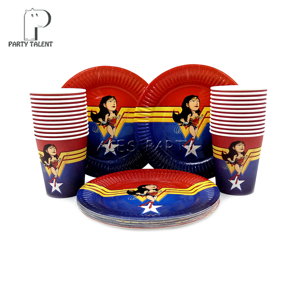 Party Supplies 48pcs Wonder Woman Party Kids Birthday Party Tableware Set, 24pcs Dessert Plates Dishes And 24pcs Cups Glasses