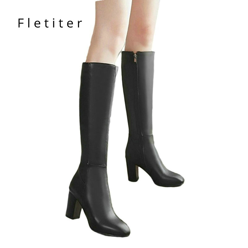 Comfortable Boots Shoes Side-Zip Elegant Plus-Size Solid-Color Knee-High Women's