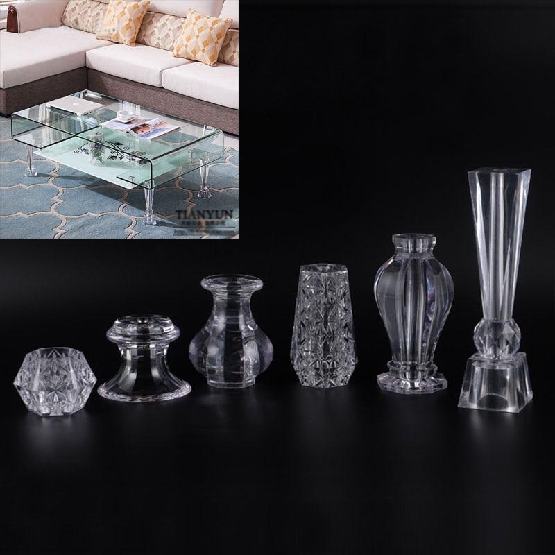 4 Piece Acrylic Crystal Cabinet Glass Tea TV Cabinet Feet Coffee Table Support Legs Furniture Feet Metal Furniture Legs  Chair