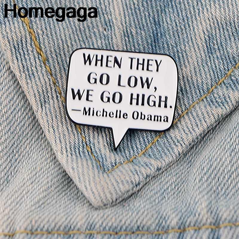Homegaga Michelle Obama Mengutip Huruf Zinc Dasi Pin Ransel Pakaian Bros untuk Pria Wanita Topi Dekorasi Lencana Medali D2244