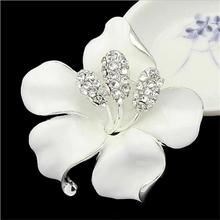lackingone *2016 christmas gift Enamel Brooch Rhinestone Crystal Lily Flower brooches for women free shipping