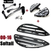 Fatboy For harley softail floorboards + brake arm + Heel Toe Shift Lever + passenger footboard Black 2000-2016(China)