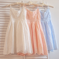 sweet cotton hollow out lacing embroidery spaghetti strap dress summer fairy ball gown dress