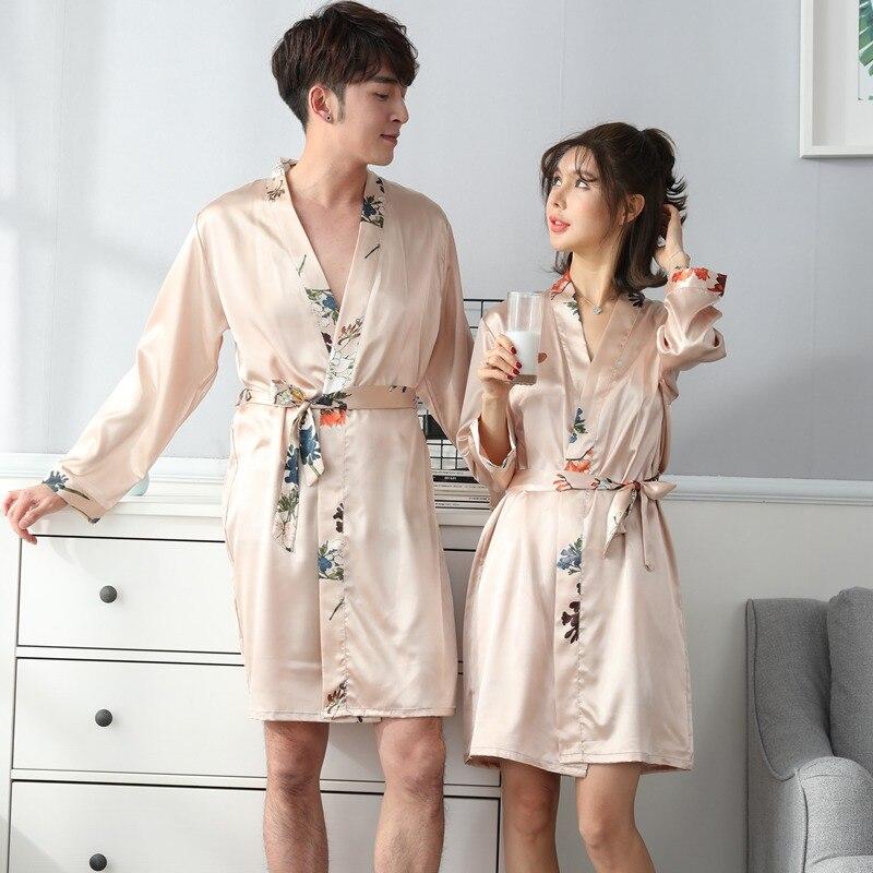2 Pcs Sexy Paare Silk Satin Roben Set Für Frauen Neue Frühjahr Langarm Floral Print Nachthemd Nachtwäsche Männer Bademantel Nachthemd