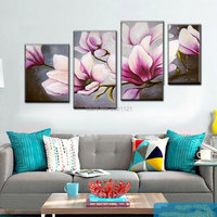 Hand Painted Flower Oil Painting On Canvas Modern Painting peach flowers Art Home Decoration 4pcs/set Free Shipping