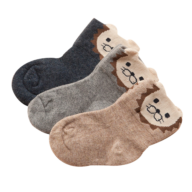 3 pares/lote algodão meninos meias de alta qualidade chilren meias para meninas 1-7 anos adorável leão padrão crianças meias