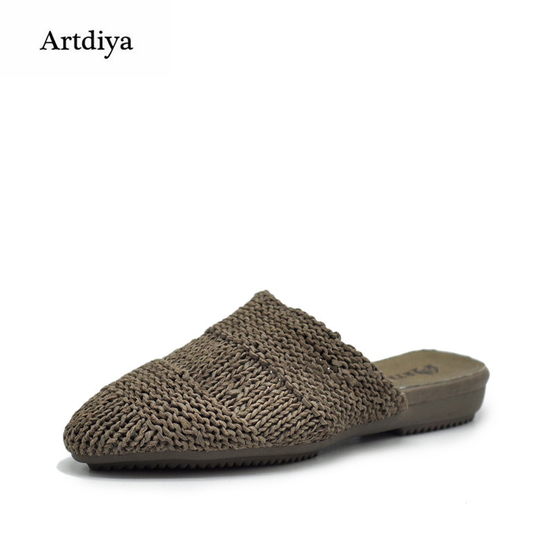 Artdiya Original New Genuine Leather Braided Flat Women Slippers Handmade Sheepskin Soft and Comfortable Outer Slippers 1881-1 2018 new high end leather comfortable feet sandals classic sandals handmade leather slippers handmade leather slippers