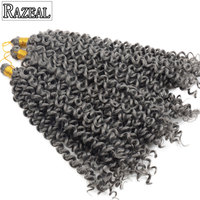 Razeal Freetress Crochet Braids Water Wave 14 Inch Curly Crochet Hair Extension Black Color Synthetic Braiding