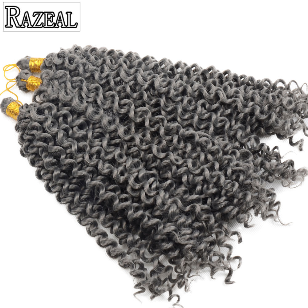 Razeal Crochet Braids Water Wave Blond, Grå, Brun Syntetisk Braiding Hair Bohemian Crochet Hair Extension High Temperature Fiber