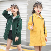 цена на 2019 Spring Trench Coat For Girls Children Clothing Cotton Hooded Long Jacket Teenagers Kids Clothes Windbreaker Girls 4-14 Year