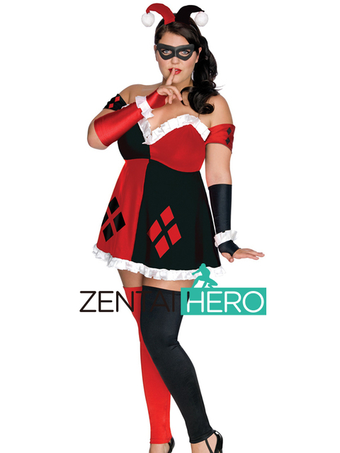 ea5e3e2e6 Free Shipping DHL Sexy Adult Women's DC Super Villains Plus Size Harley  Quinn Lycra Spandex Dress Cosplay Costume SP1789