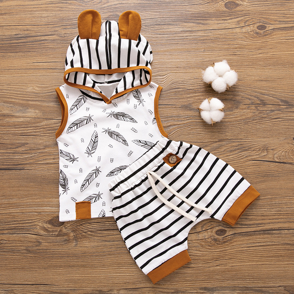 CHAMSGEND Set Newborn Baby Boy Girl Hooded Feather T Shirt Tops Striped Shorts Pants Fashion Clothes Baby Boy Girl Set 19MAR5