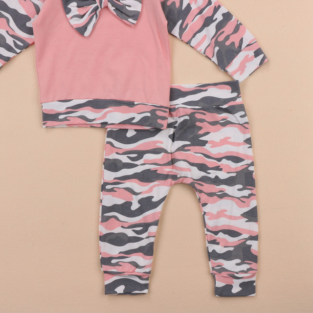 3PCS Pink Camouflage Outfit Sets