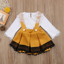 Newborn Kid Baby Girl Lace Romper Top Bow Princess Party Dress Outfit Set Girls Children Costume Kids Formal Dresses W611