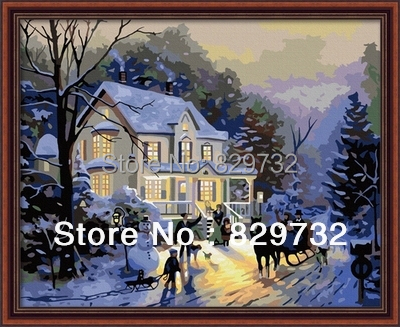JIUJIU Free shipping DIY digital oil painting picture canvas 40X50cm Winter Romance unique gift home decoration paint by number