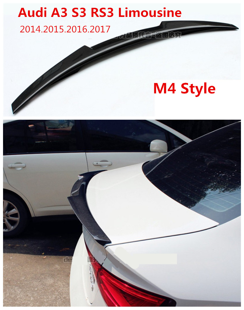Car Carbon Fiber Spoiler For Audi A3 S3 RS3 Limousine 2014.2015.2016.2017 High Quality Wing Spoilers Auto Accessories M4 Style