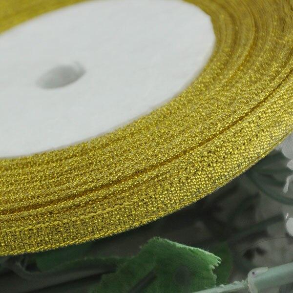 (25 ярдов/партия) 1/4 »(6 мм) полиэфирная Золотая лента Рождественская упаковочная лента высокого качества ленты с квадратным плетением