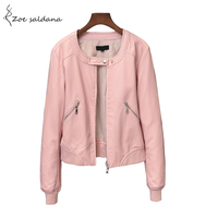 Zoe Saldana 2017 Faux Leather Jacket Women O Neck Zipper Casual Jacket Female Short Jacket Coat