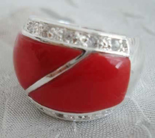 Hot sell Noble- FREE SHIPPING>>>@@ Wholesale price 16new ^^^^Noblest red coral crystal ring