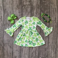 Baby Girls St Patrick Outfits Girls Shamrock Dress Clothing Children St Patrick Day Dress Girls Party