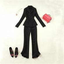 Fashion Suit set women's autumn/spring New Black Slim Double