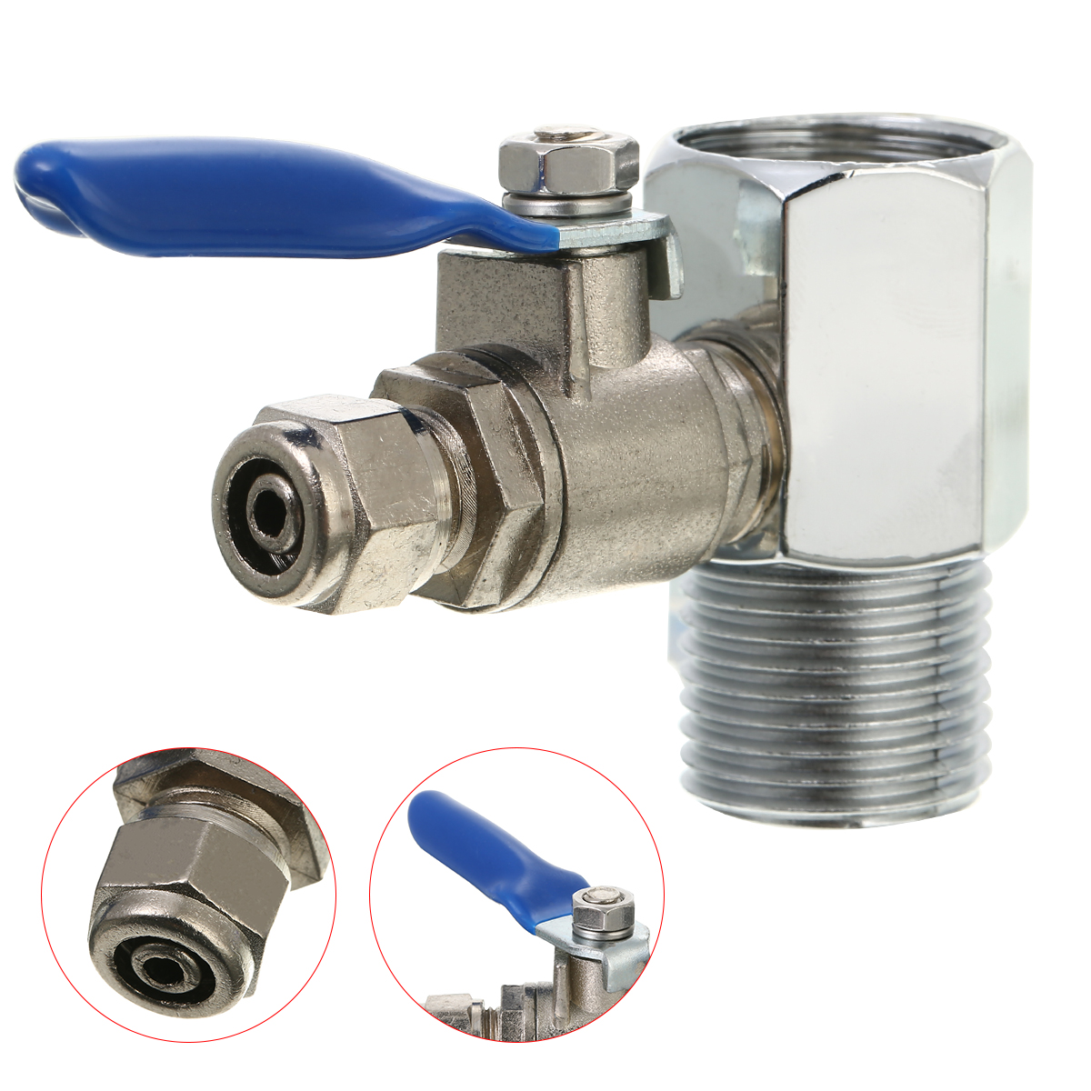 Sliver 3Way RO Feed Water Adapter 1/2'' To 1/4'' Ball Valve Water Adapter Stainless Steel 1/4
