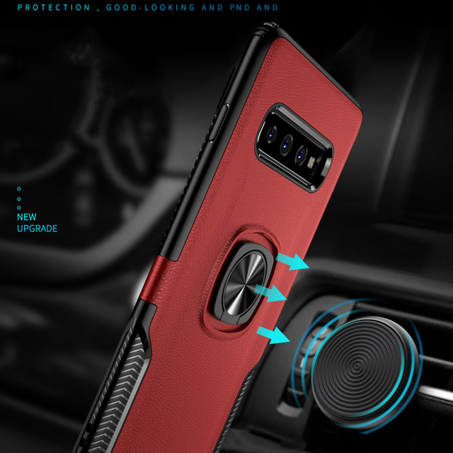 Toraise For Samsung S10 Case Metal Ring Car Stand Silicone Case for Samsung Galaxy S10 Plus Phone Back Cover For Galaxy S10e e