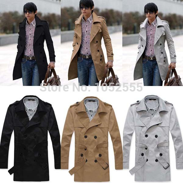 d2cdccb7db9a COOL SMART Men's Stylish Trench Coat Winter Long Jacket Double Breasted  Overcoat Tops In 3 Colors Size M L XL XXL MN404&02