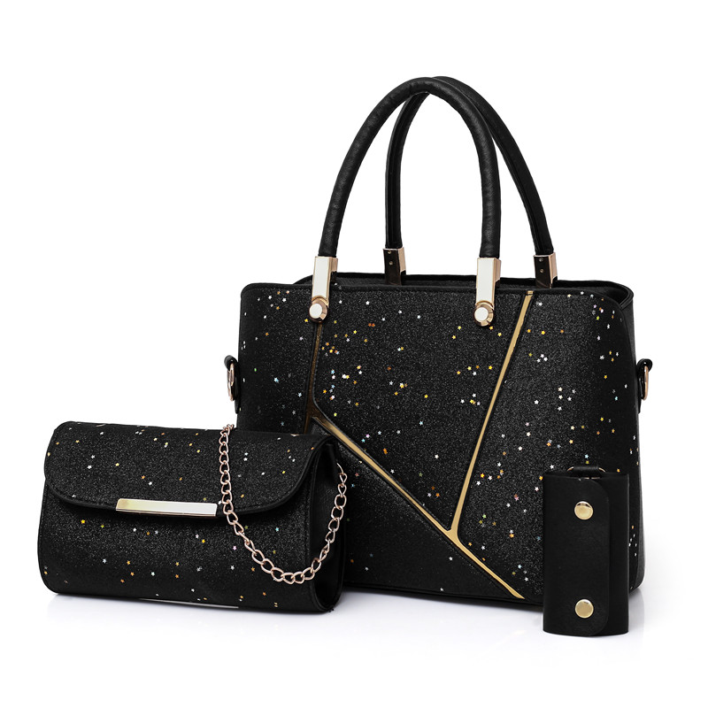 27e08775fc90 Женские сумки через плечо сумка-мессенджер брелок-сумочка трехсекционная  цепь блестки металлическая квадратная сумка
