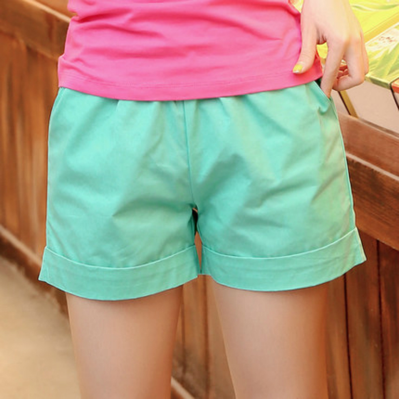 2019 Summer New Solid Color Shorts Female Summer New Large Size Candy Color Loose Cotton Casual Shorts Hot Trousers