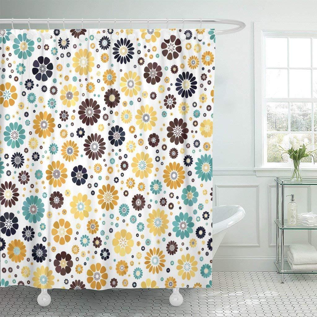 Yellow Mustard Dark Blue Azure Chocolate Spot Flower White Mid Century Mod Waterproof Shower Curtain Extra Long Decorative