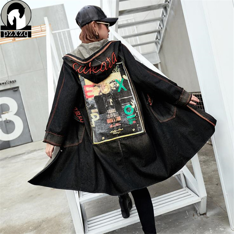 Hip Hop 2019 Street Coat Harajuku Jacket Straight Loose Large Size Long Cowboy Denim Female Windbreaker