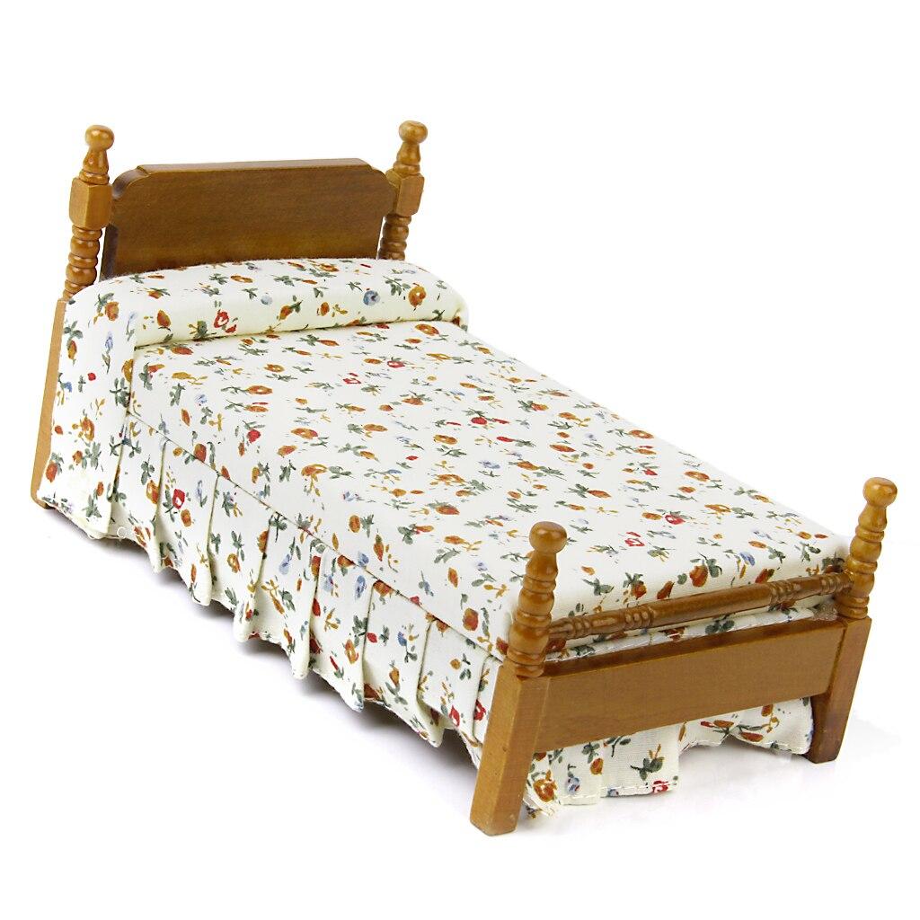 Quilt Pillow 1//12 Scale Dollhouse Furniture Miniature Floral Bunk Beds Model