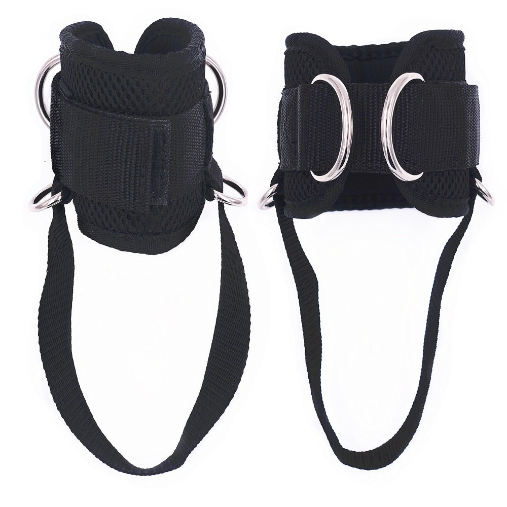 1 Pair 4 D-Ring Ankle Straps For Resistance Band Gym Cable Machines Thick Neoprene Padded Ankle Cuffs For Glute And Leg Workouts