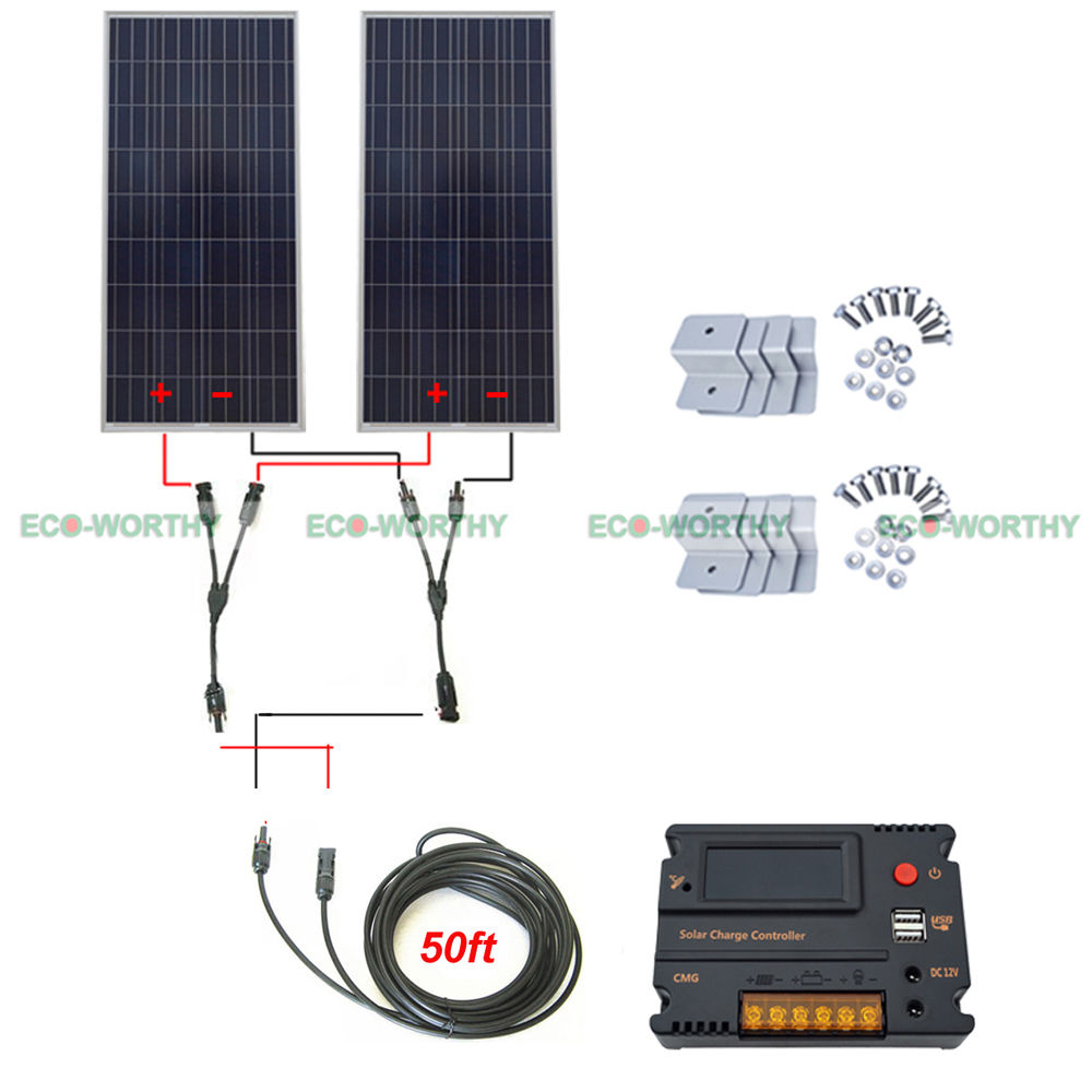 2x150W 300W 12V Off Grid Solar System W/ 20A Temperature Reguator for Vehicle RV gerber 130 1