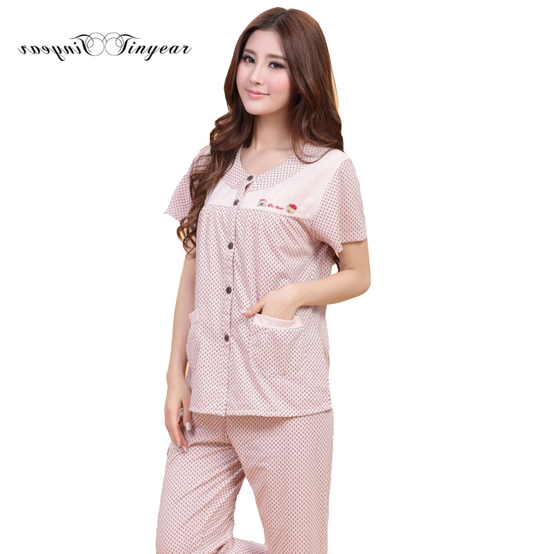 Drop ship women cotton pajama sets summer casual short sleeve round neck homewear breathable comfortable sleepwear set