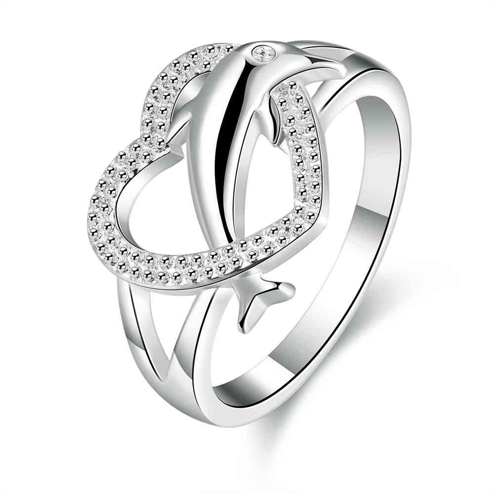 Free Shipping online shopping india silver jewelry Engagement rings Heart Dolphin heart ring fashiion jewellery
