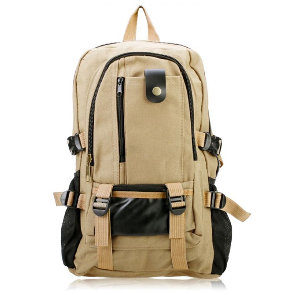 VSEN 2X Male Retro Leisure Tourism Canvas Backpack Light Khaki