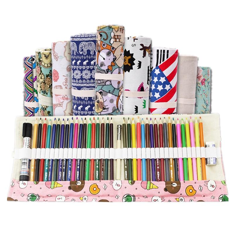 Pencil Case School Supplies Pen Bag 72 Holes Art Pouch Canvas Pen Wrap Roll Makeup Cosmetic Brush Pen Storage Stationery Student
